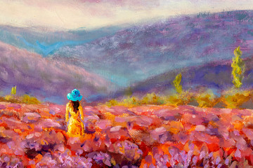 Panel Szklany Łąka Walking women in field of lavender. Romantic girl in lavender fields, having vacations in Provence, France. A girl in orange dress walking trough lavender fields oil painting on canvas