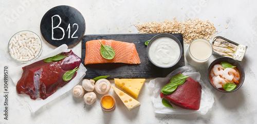Obraz Natural sources of Vitamin B12 (Cobalamin) - fototapety do salonu