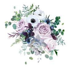 Dusty Violet Lavender, Mauve Antique Rose, Purple Pale Flowers