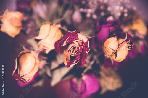 Photo  A bouquet of wilted, dry roses in a vase