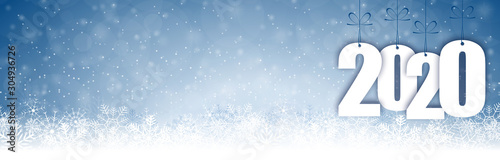 Obraz snow fall background for christmas and New Year 2020 - fototapety do salonu