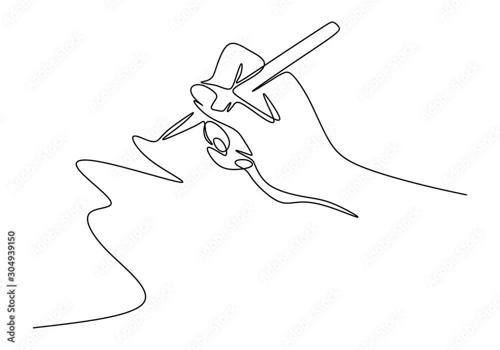 Fototapeta Continuous one line drawing of hand writing minimalism style. Fingers holding ink pen or pencil to draw or write on paper.