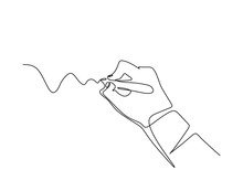 Continuous One Line Drawing Of Hand Writing Letter With Minimalism Design. Vector Fingers Holding Ink Pen To Drawing Or Write Something.