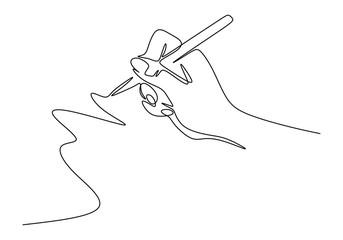 Kontinuirani crtež u jednoj liniji rukopisa u stilu minimalizma. Prsti koji drže olovku s tintom ili olovku za crtanje ili pisanje na papiru.