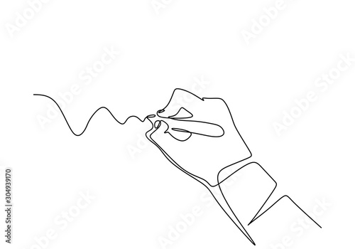 Fotografía Continuous one line drawing of hand writing letter with minimalism design