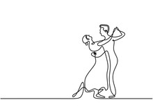 Continuous One Line Drawing Of Dancing Couple Vector. Minimalism Sketch Hand Drawn Of Man And Girl Dance With Beautiful And Romantic.