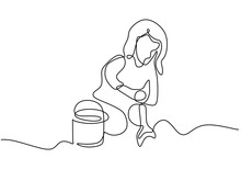 Continuous One Line Drawing Of Child Girl Playing Sand On The Bucket. Childhood Theme Vector Illustration Minimalism Design.