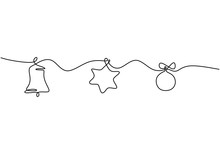 Continuous Line Hanging Bell, Star, And Ball. Christmas Theme Vector Illustration. Happy New Year Decoration With Simplicity Design Style.
