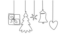 Continuous Line Hanging Candy, Ball, Christmas Tree, Gift Box, Star And Bell.