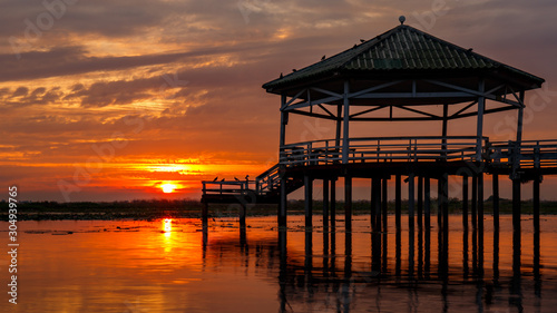 Sunset at the Pavilion on lake or pond or swamp of Bueng See Fai, Phichit, Thailand. #304939765