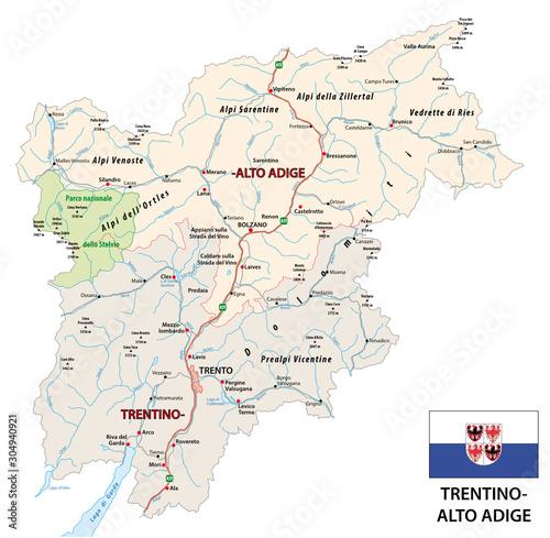 Road map of the italian region Trentino-Alto Adige with flag
