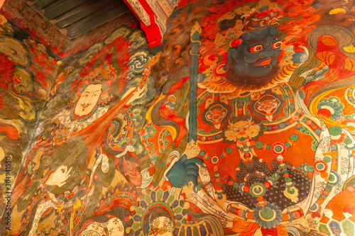 Beautiful decorative details in interior of Potala palace in Lhasa, Tibet Fototapeta