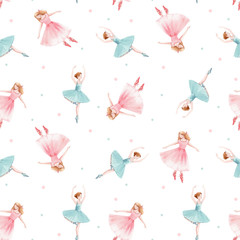 Fototapeta Malarstwo Watercolor vector seamless pattern with cute dancing girls ballet nutcracker ballerina clip art isolated illustrations