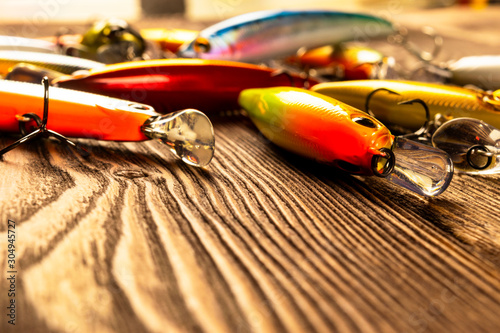 Fishing tackle background Canvas Print