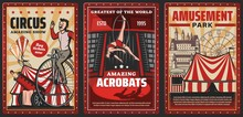 Circus Show Of Acrobats Vector...