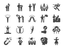 Praised And Satisfied Line Icon Set. Included Icons As Positive Thinking, Winner, Proud, Happy, People, Admire And More.