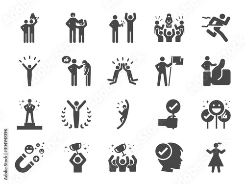 Photo Praised and satisfied line icon set