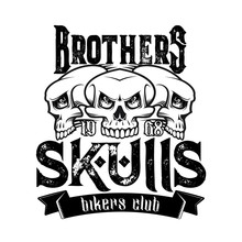 Biker Club Emblem, Motorcycle Racers And Motorbike Racing Icons. Vector Brother Skulls Vintage Grunge Sign With Ribbon Banner For Motorbike Club Tattoo And Bikers Gang Patch Badge