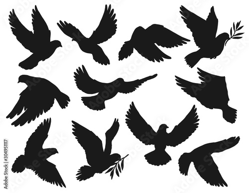 Dove icons, peace and easter symbol, pigeon bird flying with olive branch twig in beak. Vector dove silhouette, sign of Christian church religion, hope and love, resurrection day and holy spirit