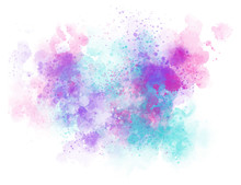 Rainbow Splash On A White Background. Banner, Poster For Your Graphics. Watercolor Abstraction With Stains Of Paint. Vector Illustration. EPS 8. Flashy Colors. Copy Space. Soft And Delicate.
