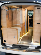 Modern Camper Inside Van Back Interior Bed