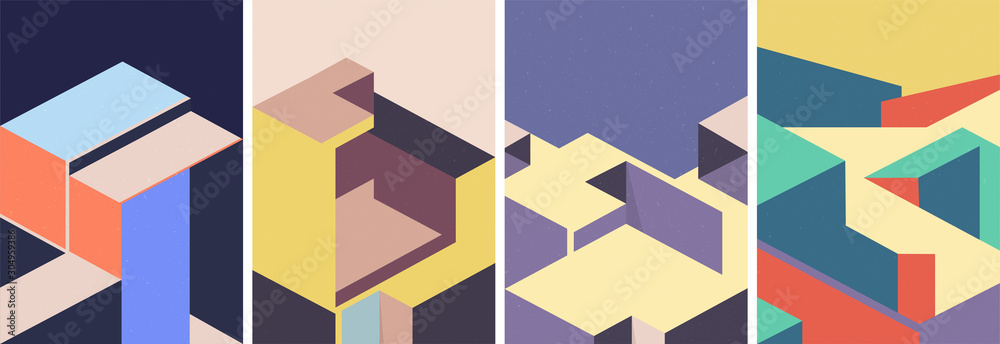 Fototapeta Isometric architectural cover design. Geometric set of templates, posters, brochures.