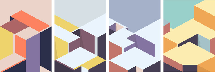 Isometric architectural cover design. Geometric set of templates, posters, brochures.