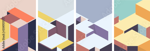 Isometric architectural cover design. Geometric set of templates, posters, brochures. - fototapety na wymiar