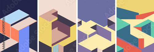 Obraz Isometric architectural cover design. Geometric set of templates, posters, brochures. - fototapety do salonu
