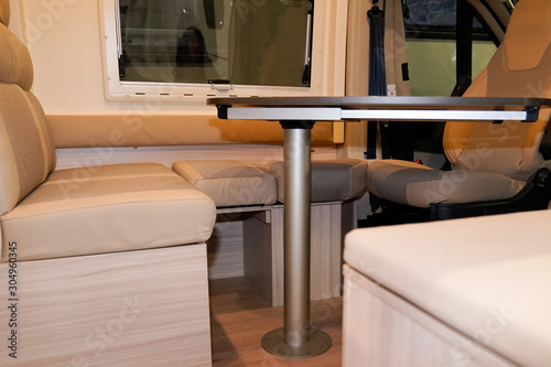 campervan interior table wooden in modern new motor home Tablou Canvas