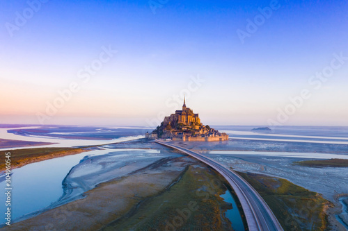 Aerial view of Panoramic view with sunset sky scene at Mont-Saint-Michel, Norman Canvas Print