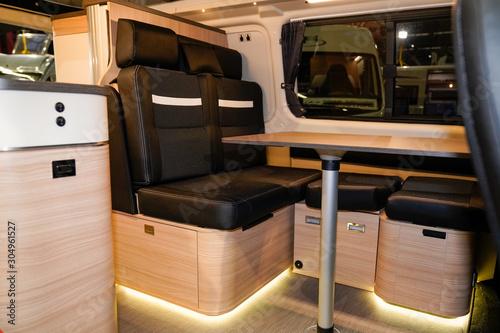 Obraz na plátně camper van open door show interior motor home