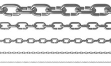 Set Of Chains Isolated On White Background