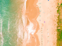 Aerial Top Down Beach View Wit...