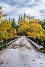 A Bridge In River Arahthos In Tzoumerka Arta On Cloudy Day, Epirus, Greece