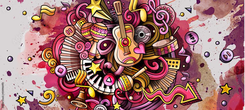 Muzyka ręcznie rysowane doodle transparent. Szczegółowe ilustracje kreskówek.