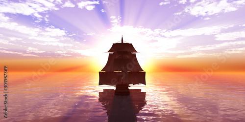 Foto op Plexiglas Purper old ship sunset at sea