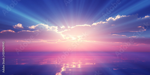 Foto Beautify sunset over sea, sun ray