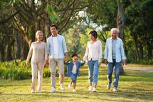 Three Generation Asian Family ...