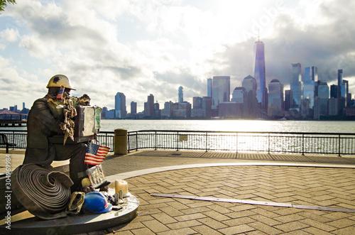 Photo  Jersey City 9-11 9/11 911 Memorial with panoramic New York City skyline view on
