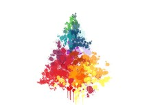 Paint Splatter Christmas Tree.Watercolor Freehand Illustration Of Grunge Christmas Tree On Color Background. Christmas Greeting Card Design.