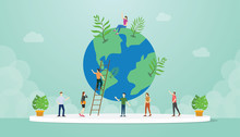 Ecology World Environment Concept With People And World Tree Growth With Modern Flat Style - Vector