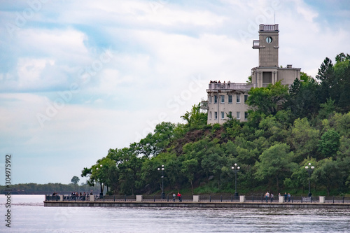 Papel de parede  Khabarovsk, Russia - Aug 21, 2019: Flood on the Amur river near the city of Khabarovsk