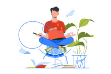 Young Handsome Man Meditating Using Smartphone For Yoga Training.