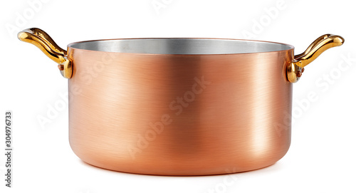 Stampa su Tela Clean and shiny copper pot isolated on white background