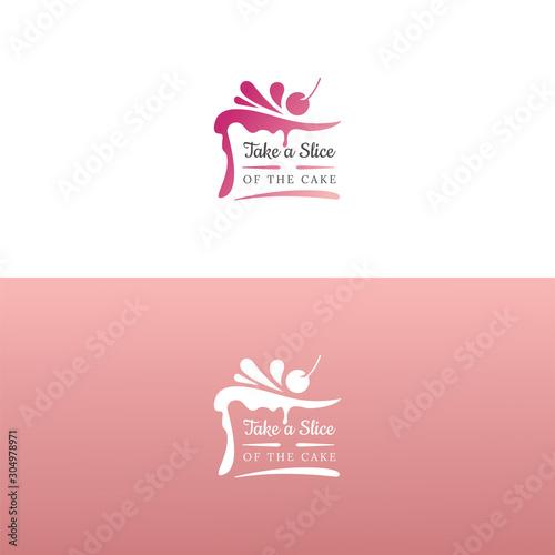 Cuadros en Lienzo Elegant tasty cake logo design. Vector image.