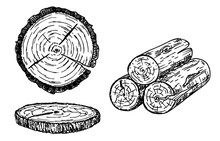 Wood Logs, Trunk Sketch Illust...
