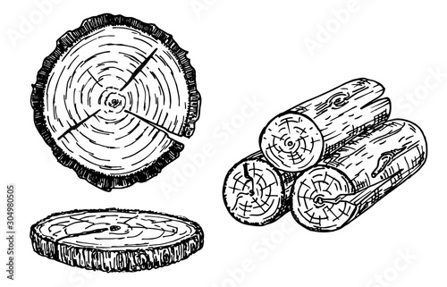 Photographie Wood logs, trunk sketch illustration