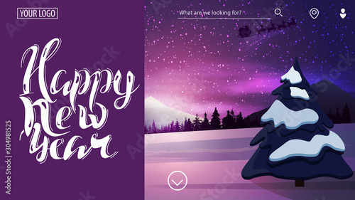 Foto auf Leinwand Violett Happy New Year, beautiful purple card for website with beautiful winter landscape on background and blue curtain for text