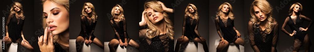 Fototapeta Panorama of fashion portraits of a beautiful girl. Sexy blonde in a stylish dress on a black background